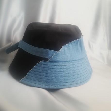 Half Denim /Black Bucket Hat