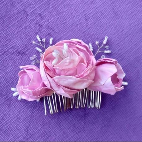 Аксесоар за коса - гребен с розови цветя