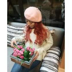 Вълнена барета -розово